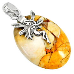 16.18cts brecciated mookaite 925 silver angel wings fairy pendant r91240