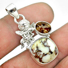 8.99cts bronze wild horse magnesite smoky topaz 925 silver angel pendant t55469
