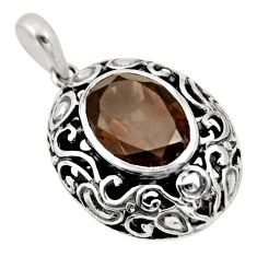 6.72cts brown smoky topaz 925 sterling silver pendant jewelry c10021