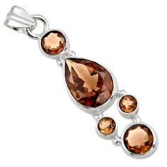 9.25cts brown smoky topaz 925 sterling silver pendant jewelry r43119