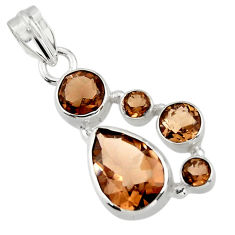 9.62cts brown smoky topaz 925 sterling silver pendant jewelry r43120