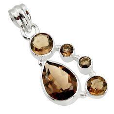 9.76cts brown smoky topaz 925 sterling silver pendant jewelry r43137