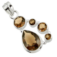 9.96cts brown smoky topaz 925 sterling silver pendant jewelry r43138