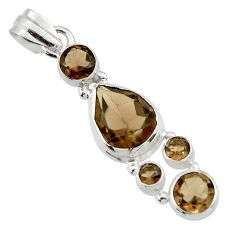 9.81cts brown smoky topaz 925 sterling silver pendant jewelry r43139