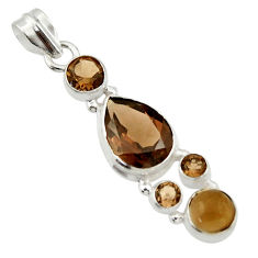 9.81cts brown smoky topaz 925 sterling silver pendant jewelry r43140