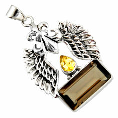11.38cts brown smoky topaz citrine 925 sterling silver pendant jewelry r20506
