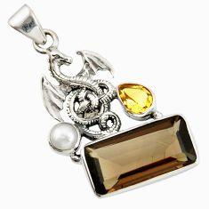 9.72cts brown smoky topaz citrine pearl 925 silver dragon pendant r20502