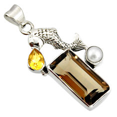 10.02cts brown smoky topaz citrine pearl 925 silver fish pendant r20509