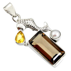 10.37cts brown smoky topaz citrine pearl 925 silver fish pendant r20514