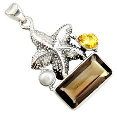 10.89cts brown smoky topaz citrine pearl 925 silver star fish pendant r20501