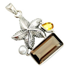 10.89cts brown smoky topaz citrine pearl 925 silver star fish pendant r20503