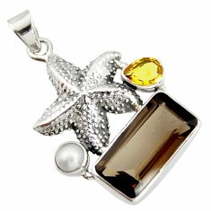 11.22cts brown smoky topaz citrine pearl 925 silver star fish pendant r20505