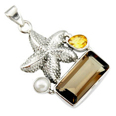 11.54cts brown smoky topaz citrine pearl 925 silver star fish pendant r20512