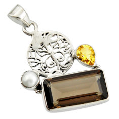 10.01cts brown smoky topaz citrine pearl 925 silver tree of life pendant r20510
