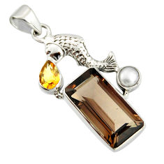 10.02cts brown smoky topaz citrine pearl 925 sterling silver fish pendant r20519