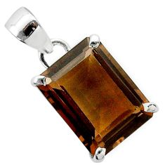 10.76cts brown smoky topaz octagan 925 sterling silver pendant jewelry t56024