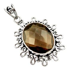 14.72cts brown smoky topaz oval 925 sterling silver pendant jewelry d46701