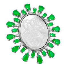 Cameo blister pearl green chalcedony 925 sterling silver pendant jewelry c19014