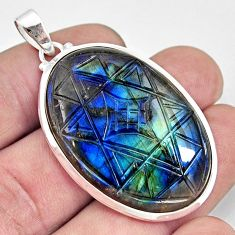 42.36cts carving natural blue labradorite 925 sterling silver pendant r29001