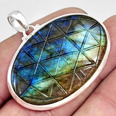 36.19cts carving natural blue labradorite 925 sterling silver pendant r29013