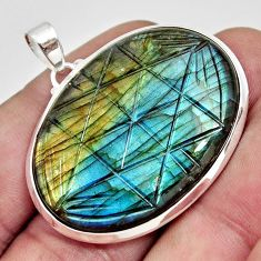 40.69cts carving natural blue labradorite 925 sterling silver pendant r29014