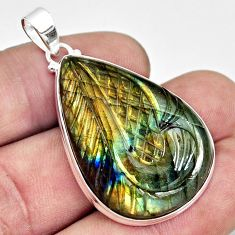 33.68cts carving natural blue labradorite 925 sterling silver pendant r29036