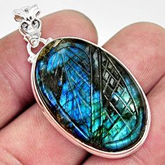 29.34cts carving natural blue labradorite 925 sterling silver pendant r29047