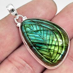 28.73cts carving natural blue labradorite 925 sterling silver pendant r29055