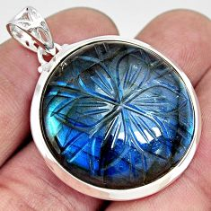 30.88cts carving natural blue labradorite 925 sterling silver pendant r29059