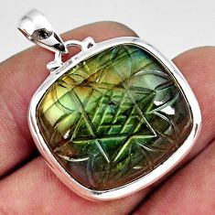 26.19cts carving natural blue labradorite 925 sterling silver pendant r29072