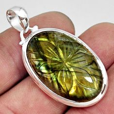 23.13cts carving natural blue labradorite 925 sterling silver pendant r29073