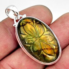 22.30cts carving natural blue labradorite 925 sterling silver pendant r29075