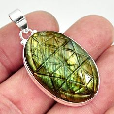 28.08cts carving natural blue labradorite 925 sterling silver pendant r29096