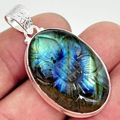26.54cts carving natural blue labradorite 925 sterling silver pendant r29108