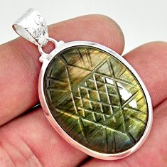 23.74cts carving natural blue labradorite 925 sterling silver pendant r29114