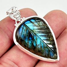 22.01cts carving natural blue labradorite 925 sterling silver pendant r29129