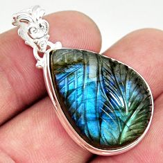 25.93cts carving natural blue labradorite 925 sterling silver pendant r29134