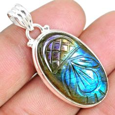 21.48cts carving natural blue labradorite 925 sterling silver pendant r69744