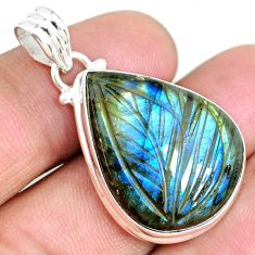 22.00cts carving natural blue labradorite 925 sterling silver pendant r69756