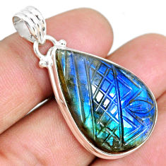 26.00cts carving natural blue labradorite 925 sterling silver pendant r69787