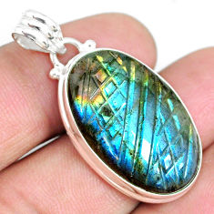 20.88cts carving natural blue labradorite oval 925 silver pendant r69746