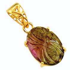 8.09cts carving natural pink tourmaline 925 silver 14k gold pendant r29158