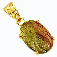 9.13cts carving natural tourmaline 14k gold over 925 silver pendant r29149