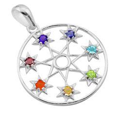 2.78cts chakra amethyst cornelian topaz 925 silver star of david pendant t50412