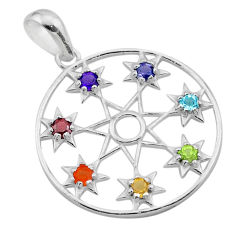 2.61cts chakra amethyst cornelian topaz 925 silver star of david pendant t50413