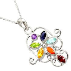 Clearance Sale- 4.53cts chakra natural amethyst cornelian 925 silver 18' chain pendant d45494