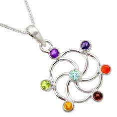 2.74cts chakra natural purple amethyst cornelian silver 18' chain pendant d45481