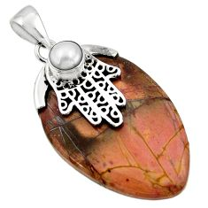 26.66cts cherry creek jasper 925 silver hand of god hamsa pendant r44351