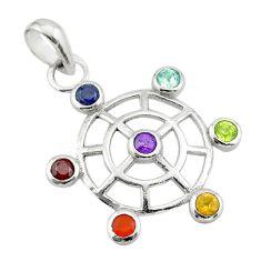 2.93cts circle of life amethyst cornelian topaz 925 silver chakra pendant t50391