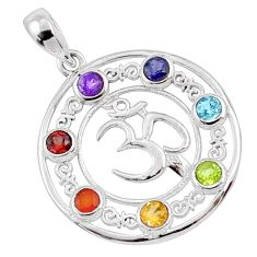 Circle of life natural multi gems 925 silver om symbol chakra pendant r65227